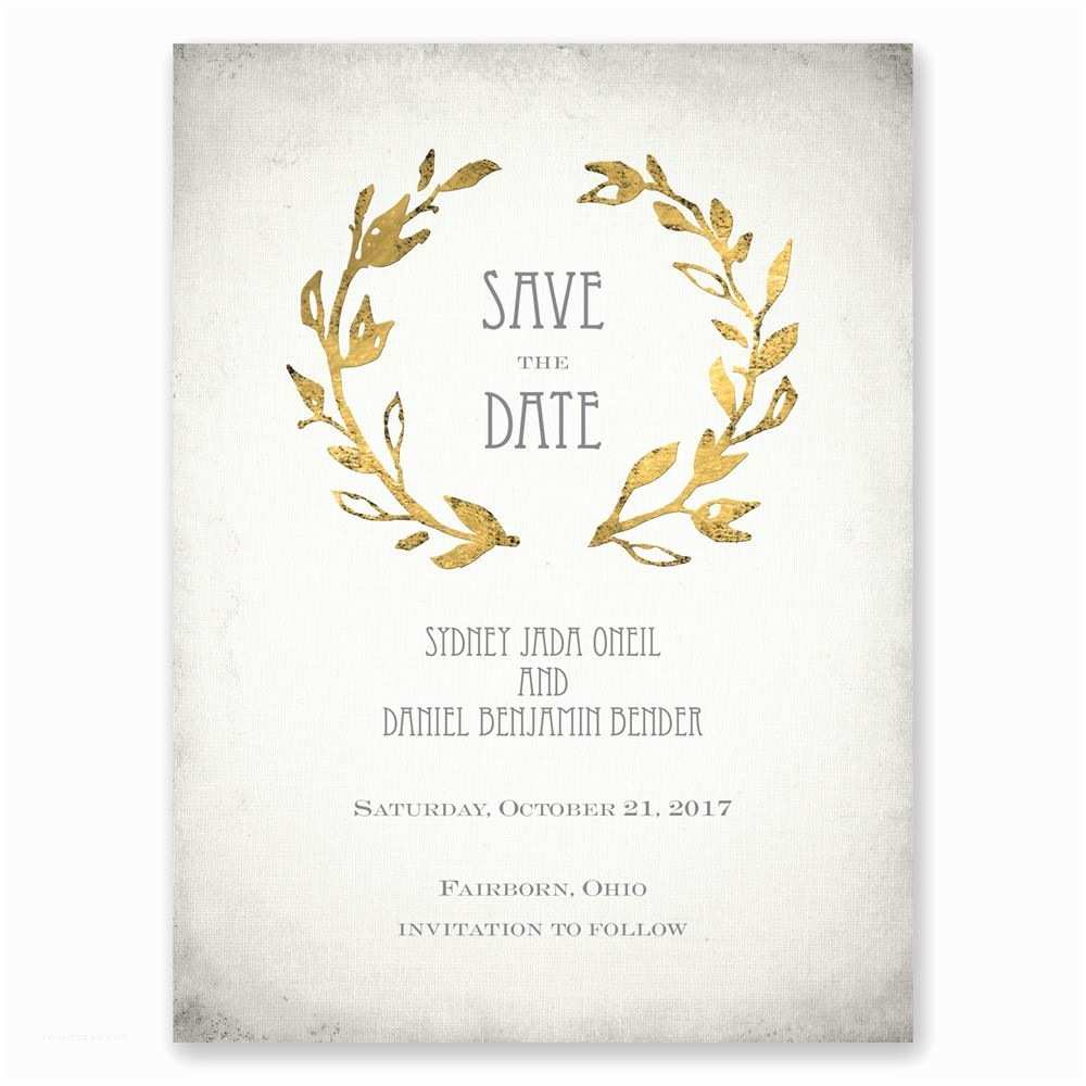 Save the Date Vs Wedding Invitations Leaves Of Gold Save the Date Card