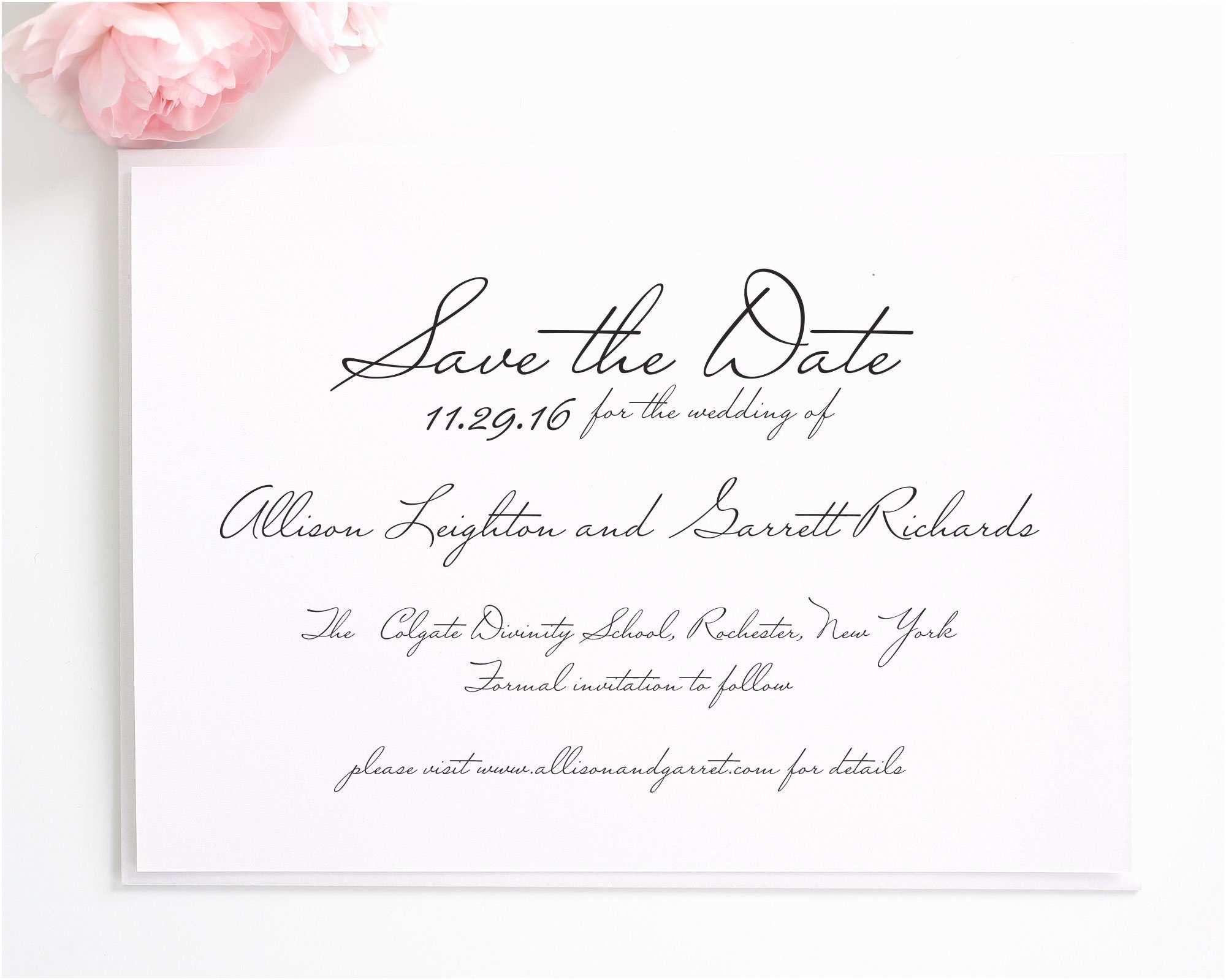 Save the Date Vs Wedding Invitations Schoolhouse Script Save the Date Cards Save the Date
