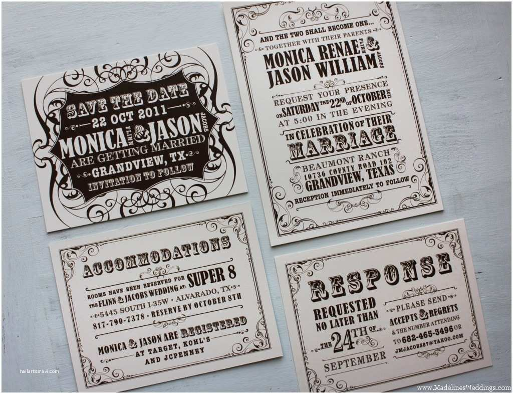Save the Date Wedding Invitations Brown and Cream Vintage Poster Style Wedding Invitations