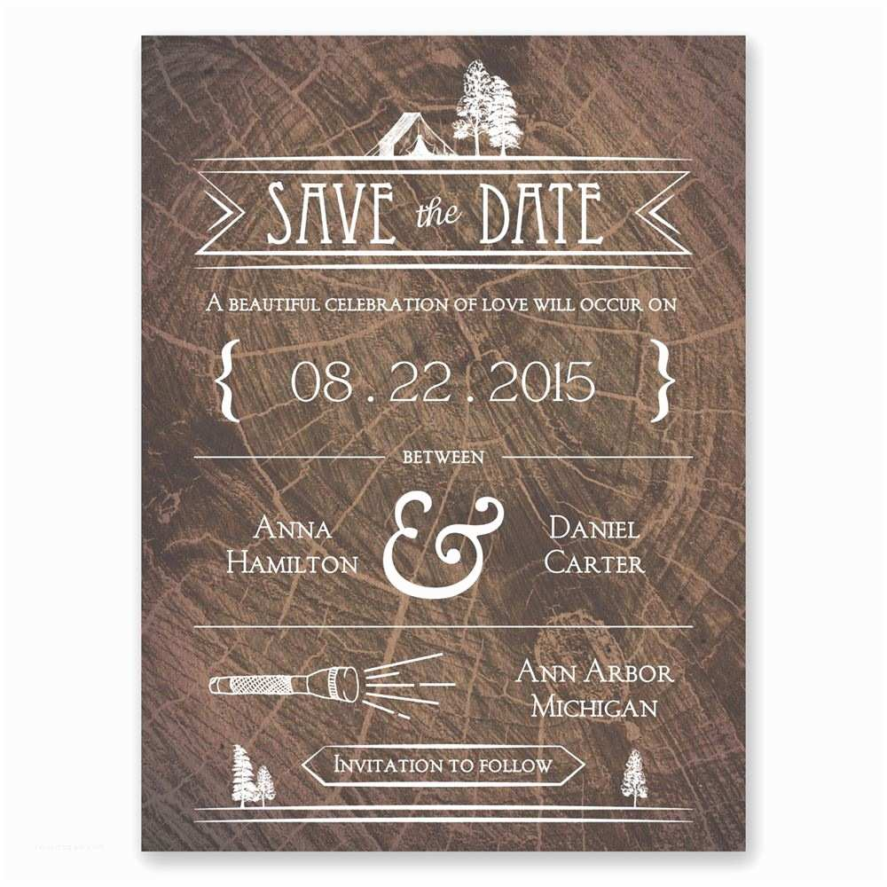 Save the Date Wedding Invitations Making Camp Save the Date Card