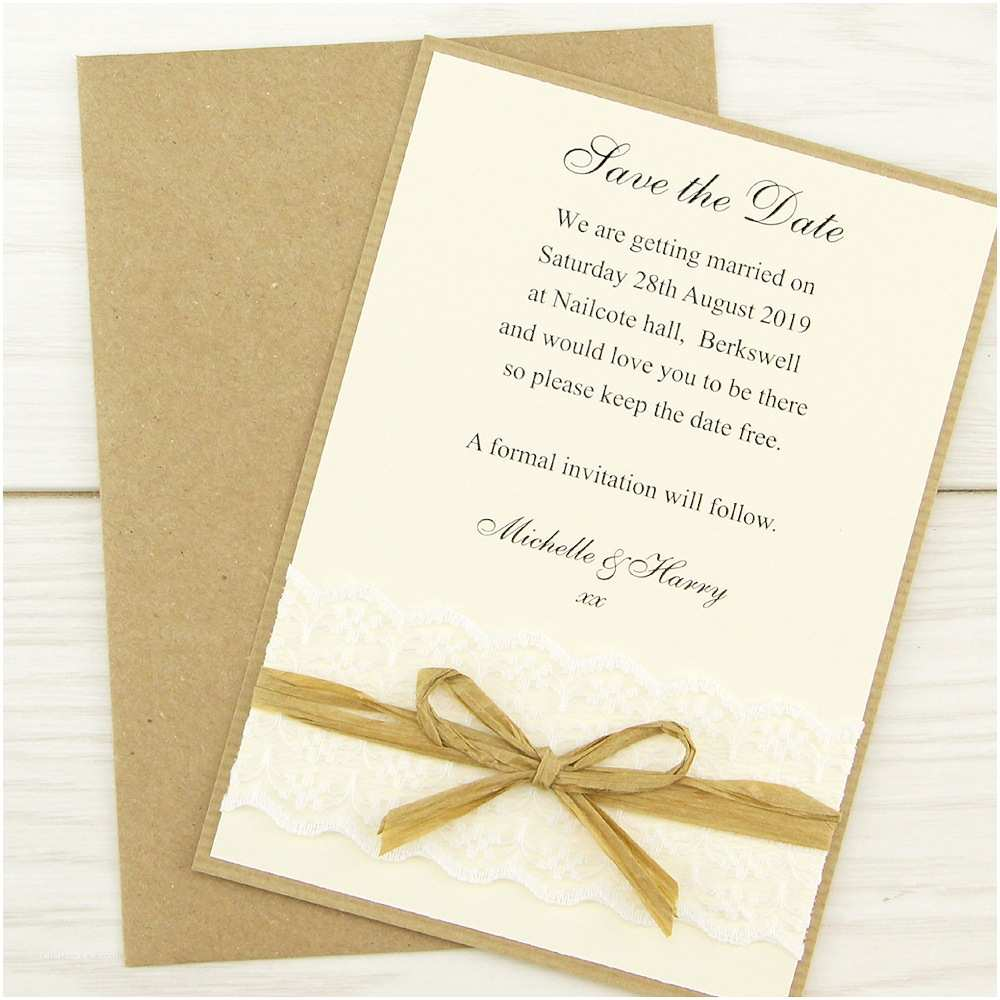 Save the Date Wedding Invitations Rustic Lace Save the Date