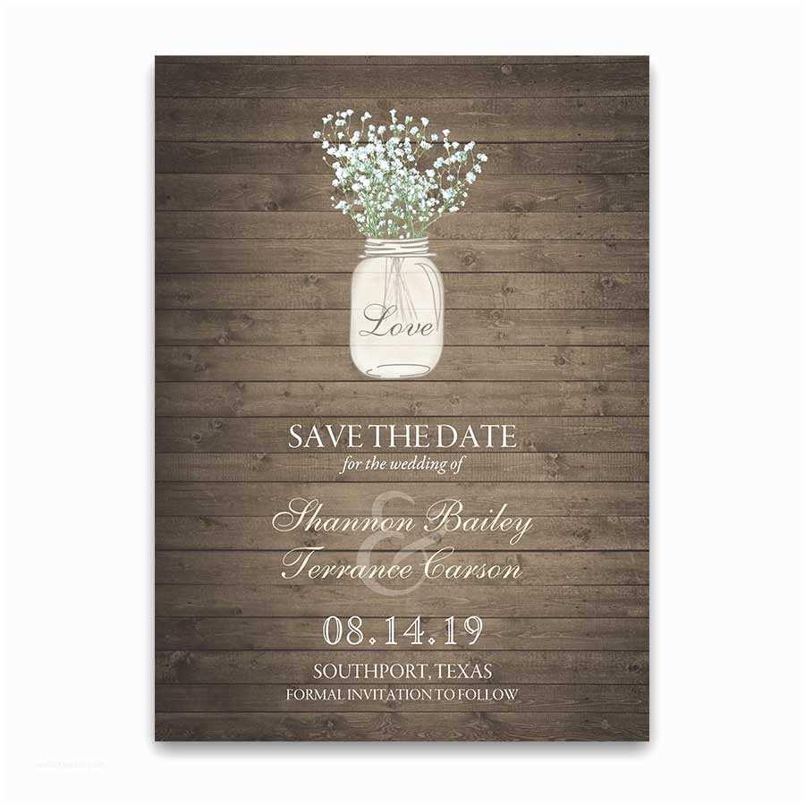 Save the Date Wedding Invitations Rustic Mason Jar Wedding Invitation with Babys Breath