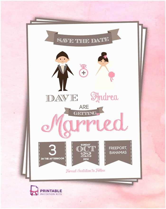 Save the Date Wedding Invitations Save the Date Cartoon Couple ← Wedding Invitation