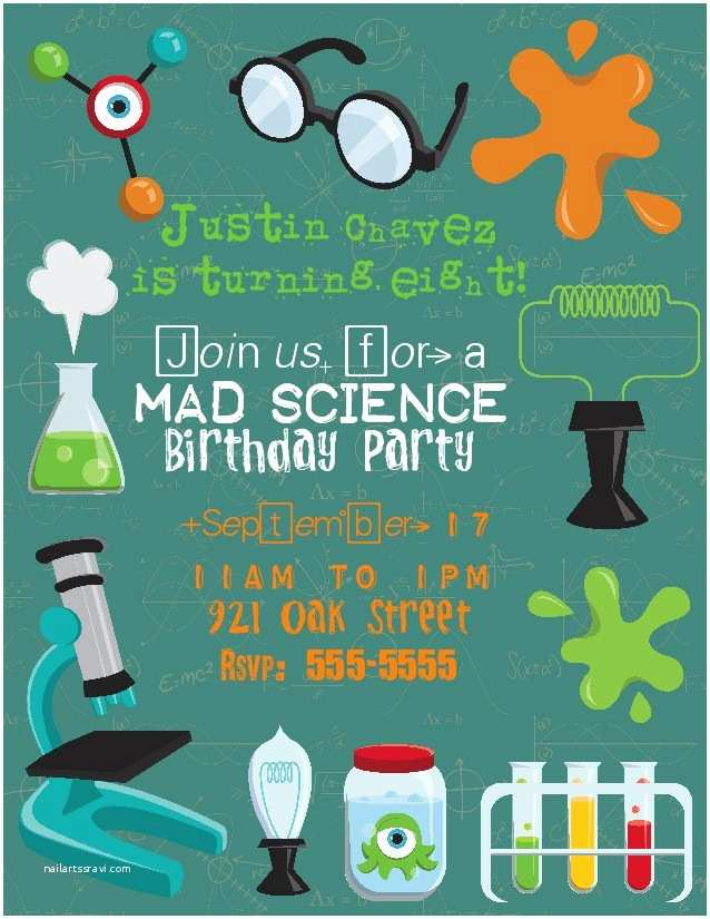Science Party Invitations Bear River Greetings Mad Scientist Birthday Party