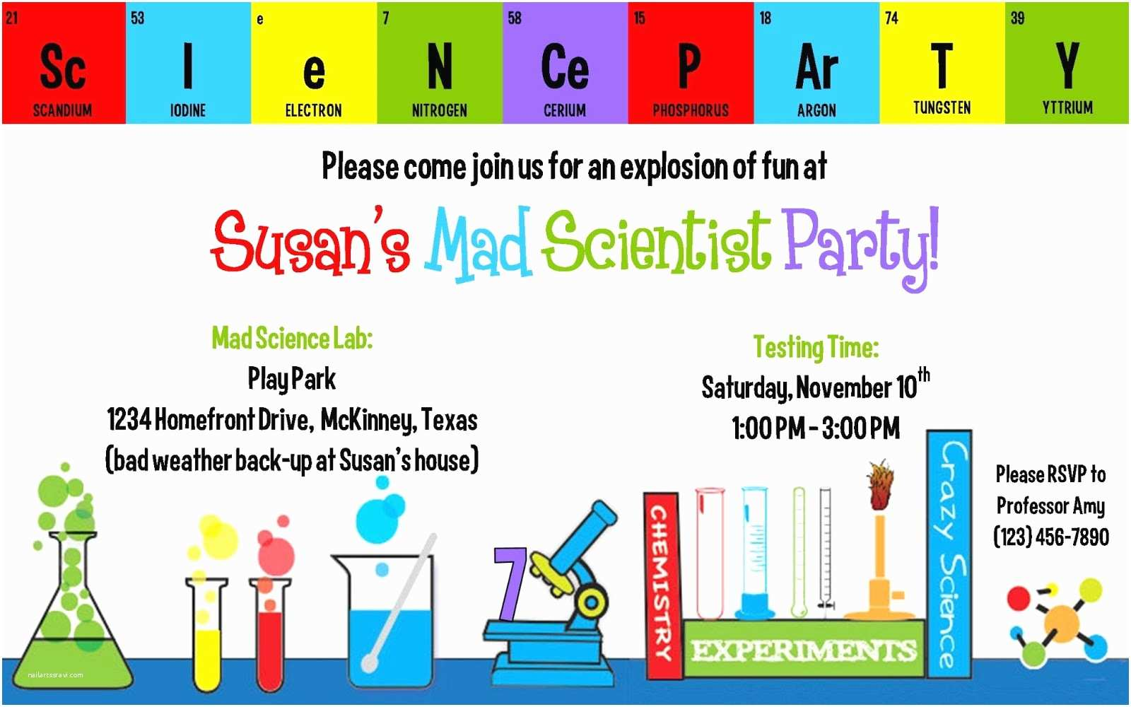 Science Party Invitations Creations by Kimberly Party Invitations