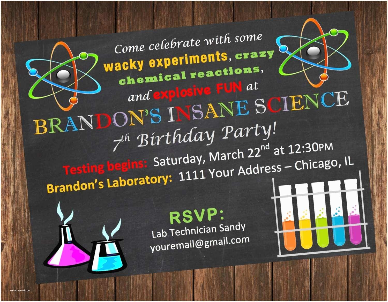 Science Party Invitations Insane Science Birthday Party Invitation Science Laboratory