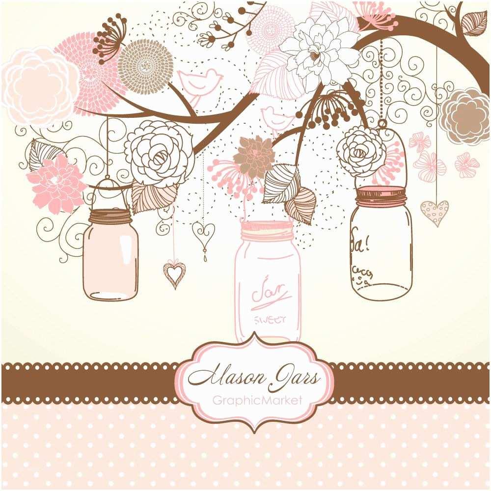 Scrapbook Wedding Invitations Hand Drawn Mason Jars Card Template and Digital Papers