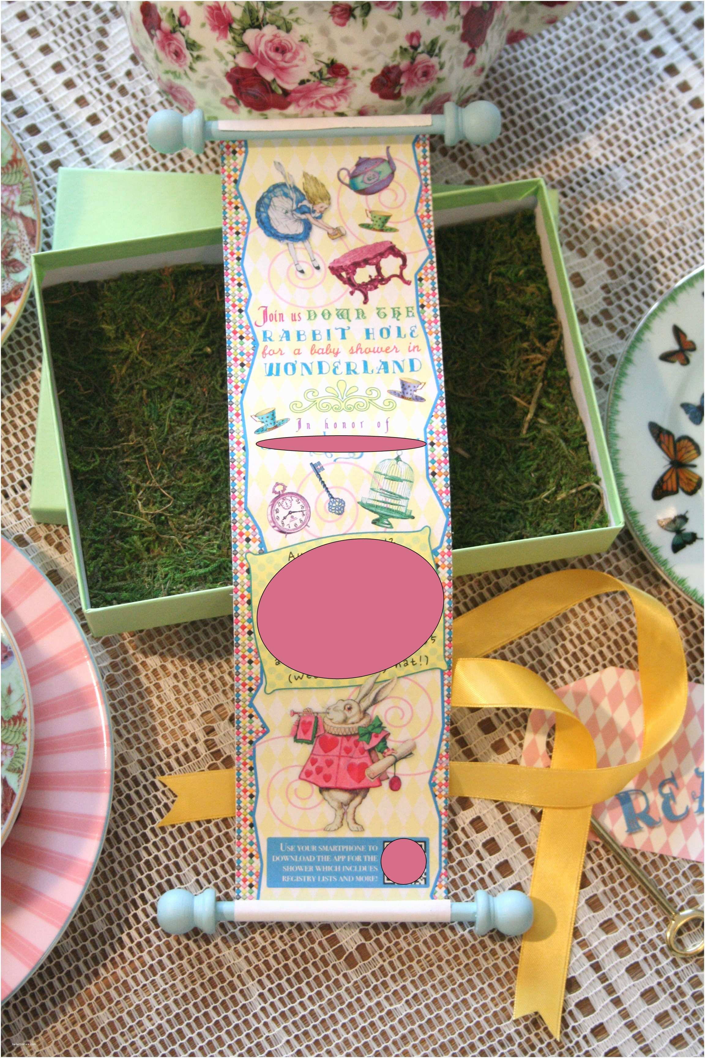 Scroll Baby Shower Invitations Alice In Wonderland Baby Shower Invitations