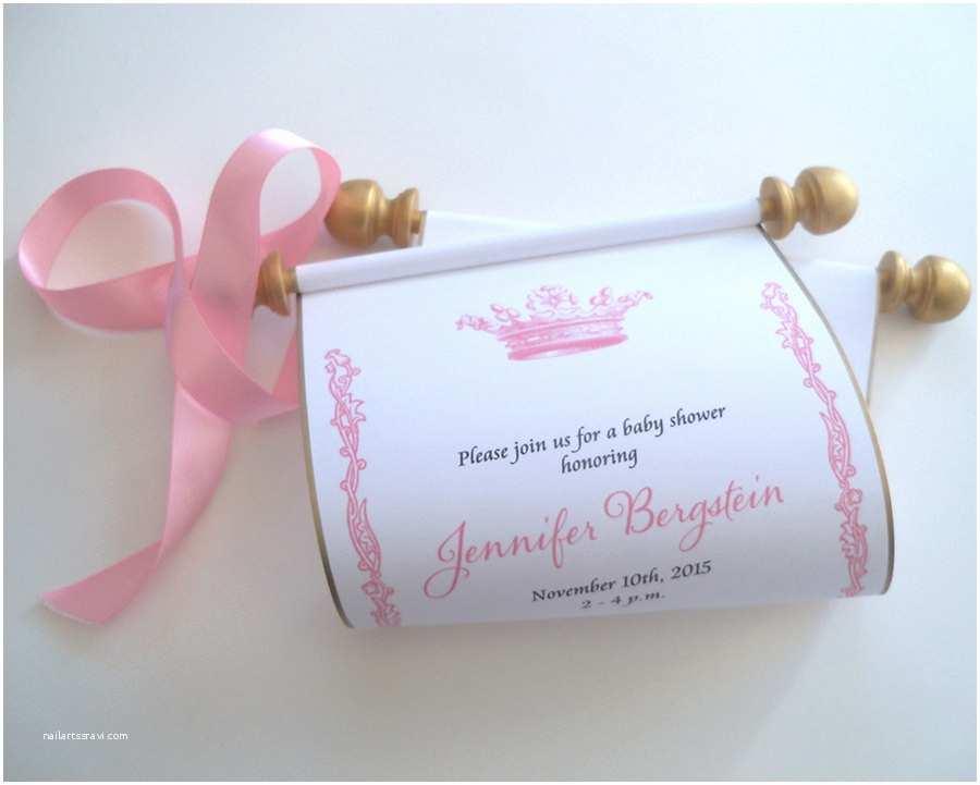 Scroll Ba Shower Invitations Ba Shower Invitation Princess Crown Scroll Shower