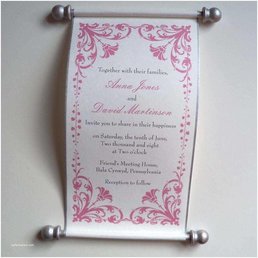 Scroll Baby Shower Invitations Damask Flower Wedding Invitation Scroll Set Of 10