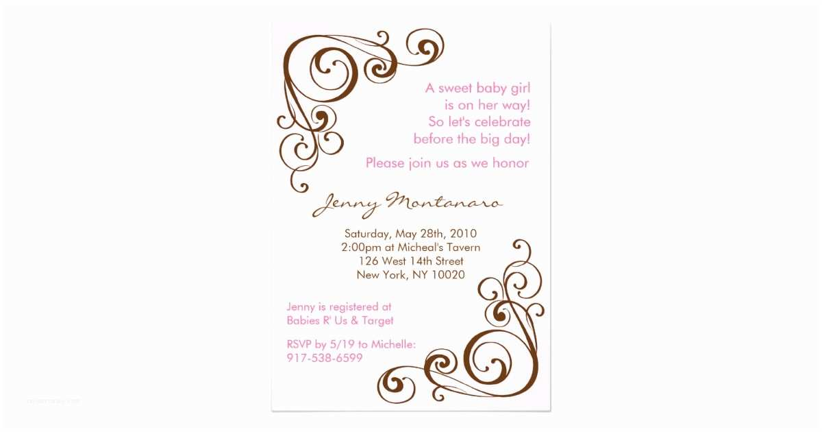 Scroll Baby Shower Invitations Elegant Scroll Swirl Baby Shower Invitations 5x7