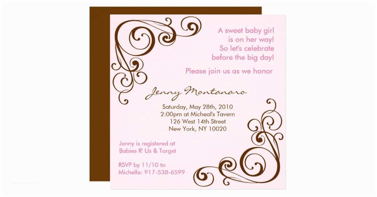 Scroll Baby Shower Invitations Elegant Scroll Swirl Baby Shower Invitations