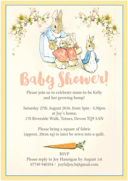 Scroll Baby Shower Invitations Flopsy Bunnies Beatrix Potter Baby Shower Invitation From