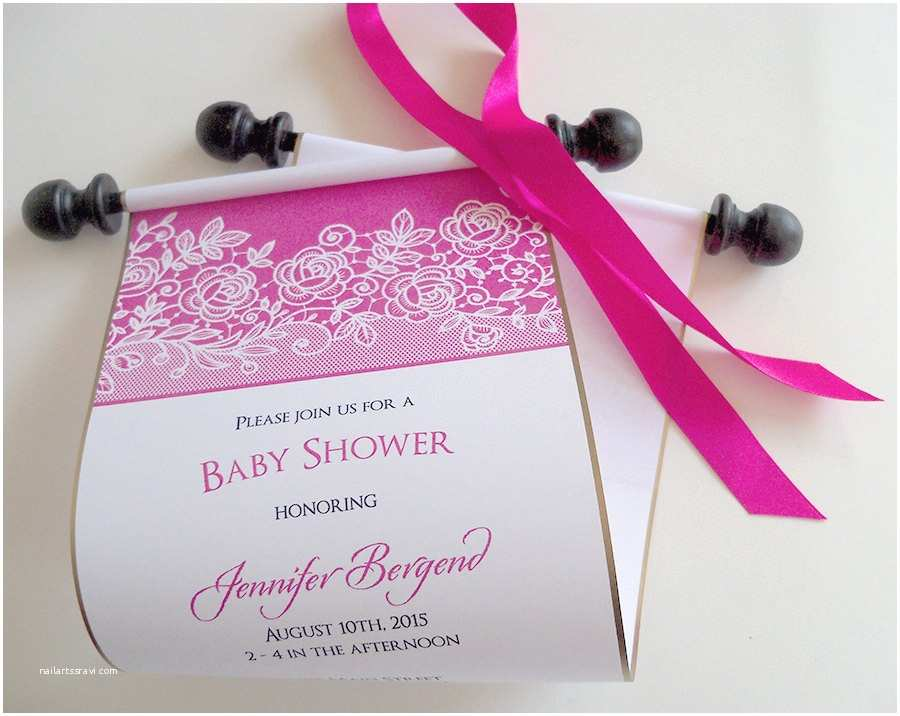 Scroll Baby Shower Invitations Lace Baby Shower Invitation Scrolls Hot Pink And