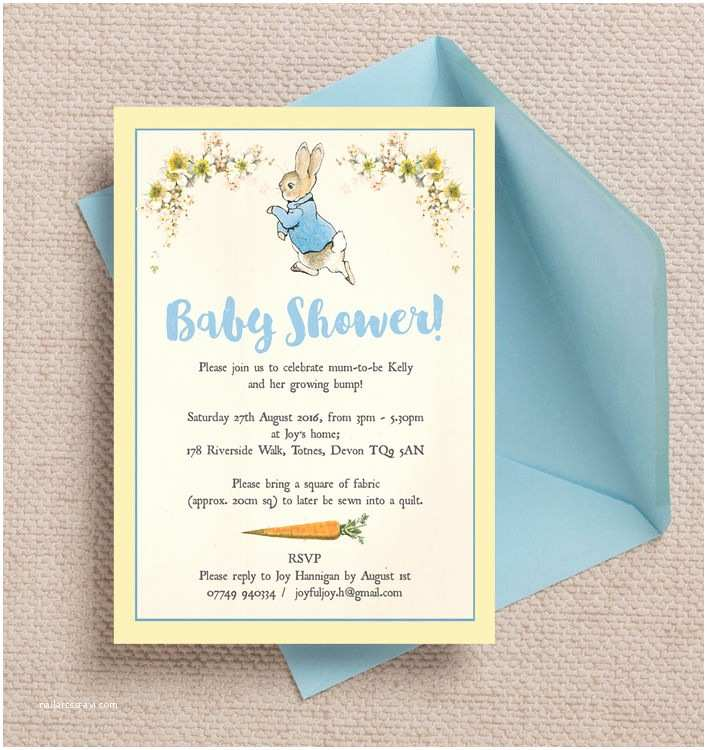 Scroll Baby Shower Invitations Peter Rabbit Baby Shower Invitation From £0 80 Each