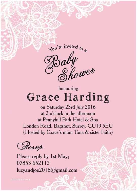 Scroll Baby Shower Invitations Pink & White Vintage Lace Baby Shower Invitation From £0