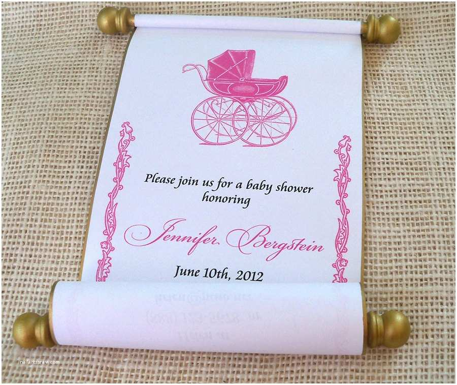Scroll Baby Shower Invitations Princess Baby Shower Invitation Scroll Pink by