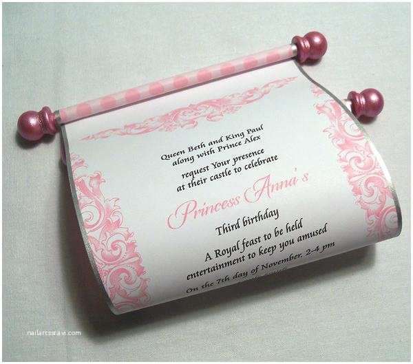 Scroll Baby Shower Invitations Princess Birthday Party Invitation Scroll In Pink Set Of