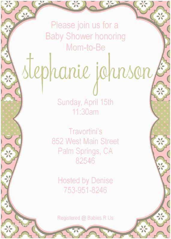 Scroll Baby Shower Invitations Printable Baby Shower Invitation Elegant Pink and Green