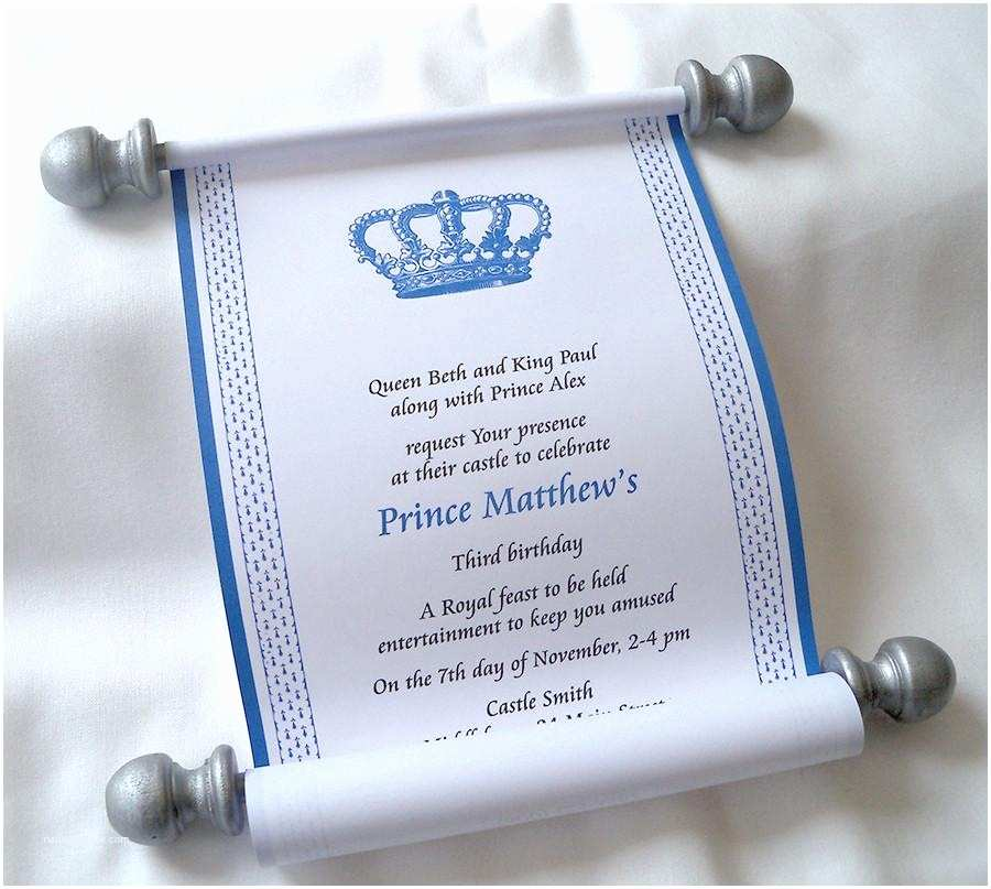 Scroll Baby Shower Invitations Royal Prince Birthday Party Invitation Scroll In Blue and