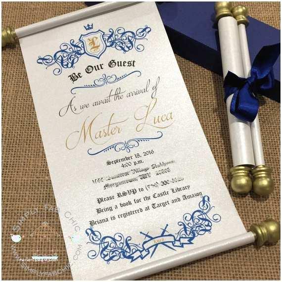Scroll Baby Shower Invitations Royal Prince Princess Scroll Invitation Birthday Wedding