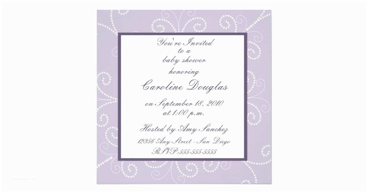 Scroll Baby Shower Invitations Scroll Baby Shower Invitation Lavender