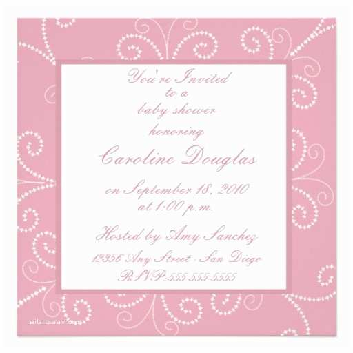 "Scroll Baby Shower Invitations Scroll Baby Shower Invitation Rose 5 25"" Square"