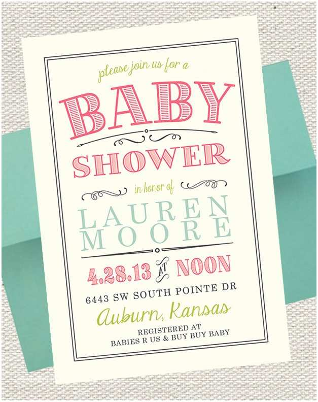 Scroll Baby Shower Invitations Vintage Scroll Baby Shower Invitation Pink Lime
