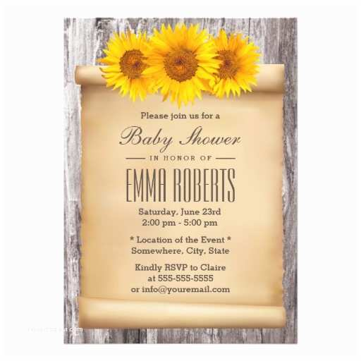 """Scroll Baby Shower Invitations Vintage Sunflowers Old Scroll Wood Baby Shower 5"""" X"""