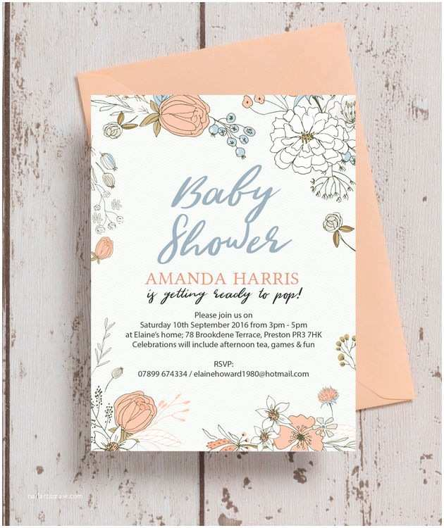 Scroll Baby Shower Invitations Wild Flowers Baby Shower Invitation From £0 80