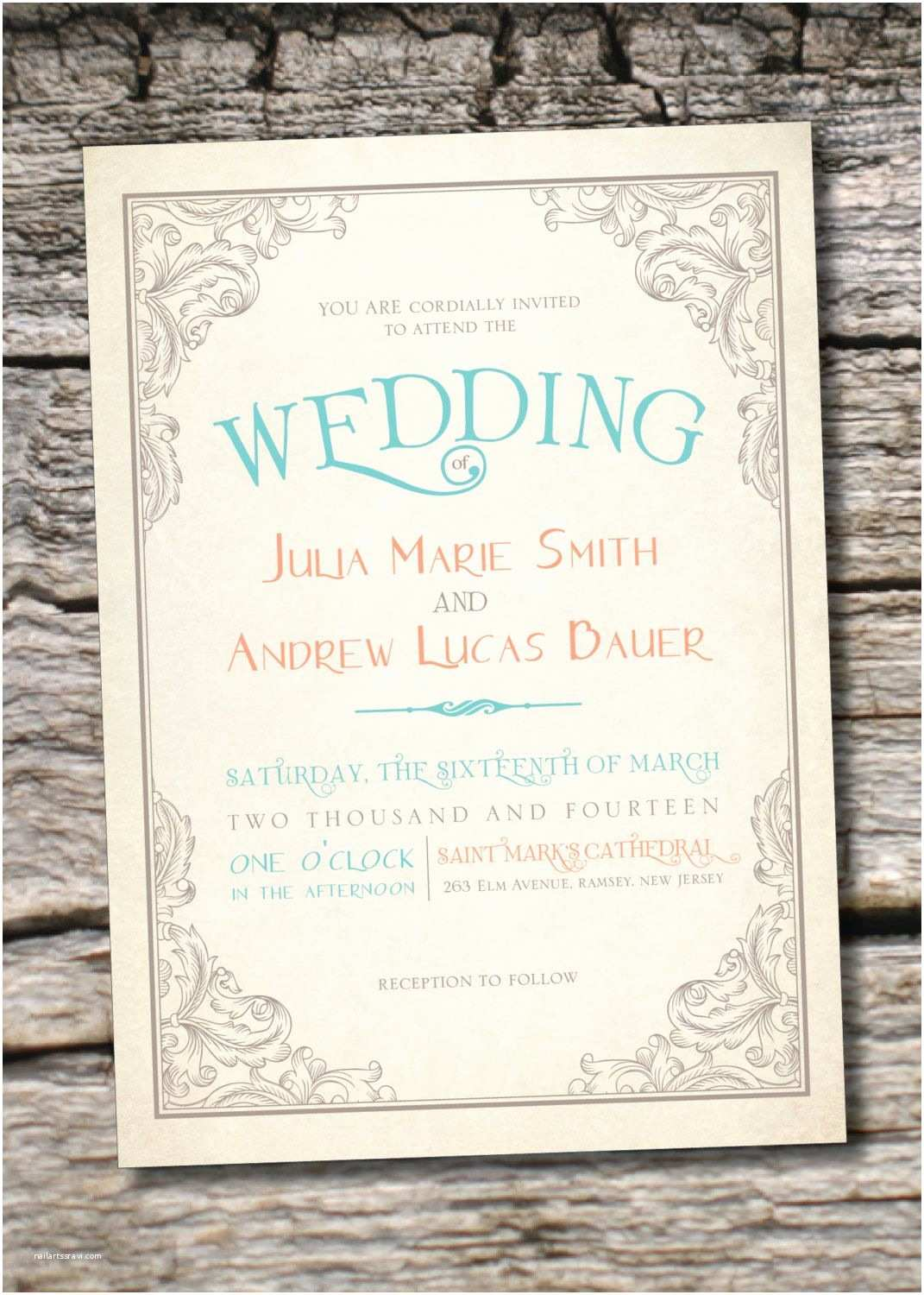 Scroll Wedding Invitations with Rsvp Cards Elegant Scroll Vintage Rustic Wedding Invitation Response