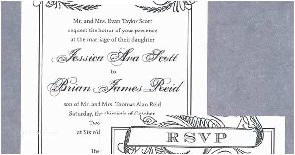 Scroll Wedding Invitations with Rsvp Cards Free Wedding Invitation Printable Black Scroll
