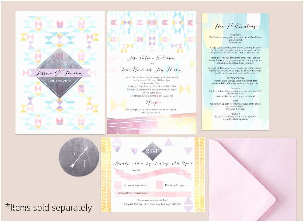 Scroll Wedding Invitations with Rsvp Cards Pastel Geometric Rsvp From £0 75 Each