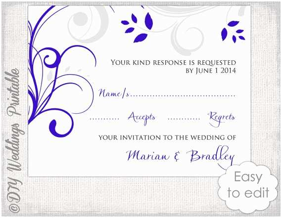Scroll Wedding Invitations with Rsvp Cards Response Card Template Diy Royal Blue & Silver Gray