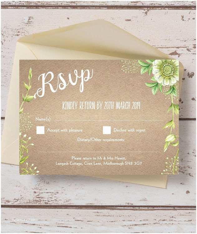 Scroll Wedding Invitations with Rsvp Cards Rustic Greenery Rsvp From £0 75 Each