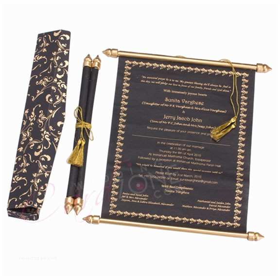Scroll Wedding Invitations with Rsvp Cards Scroll Card Code H 1010 Wedding Card Zone