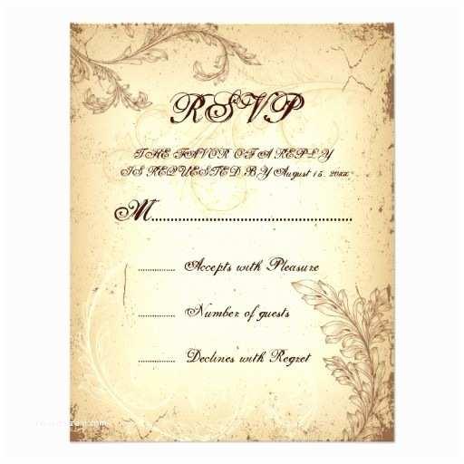 Scroll Wedding Invitations with Rsvp Cards Vintage Brown Beige Scroll Leaf Wedding Rsvp Card