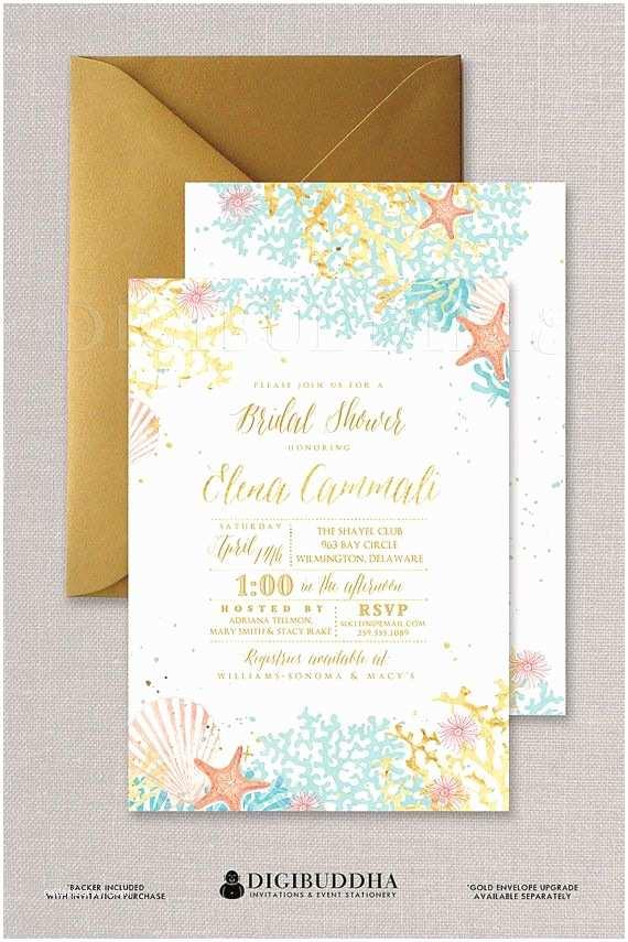 Sea themed Wedding Invitations Beach Bridal Shower Invitation Watercolor Ocean Coral Gold