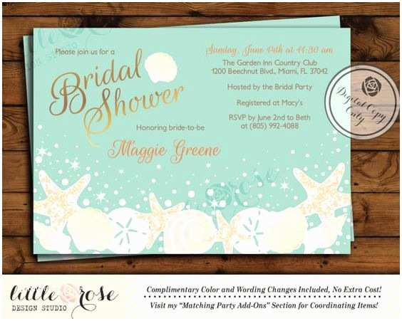Sea themed Wedding Invitations Beach Bridal Shower Invitation Wedding Shower Invite