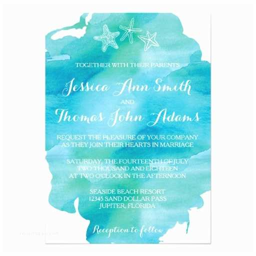 Sea themed Wedding Invitations Beach Watercolor Starfish Ocean Wedding Invitation