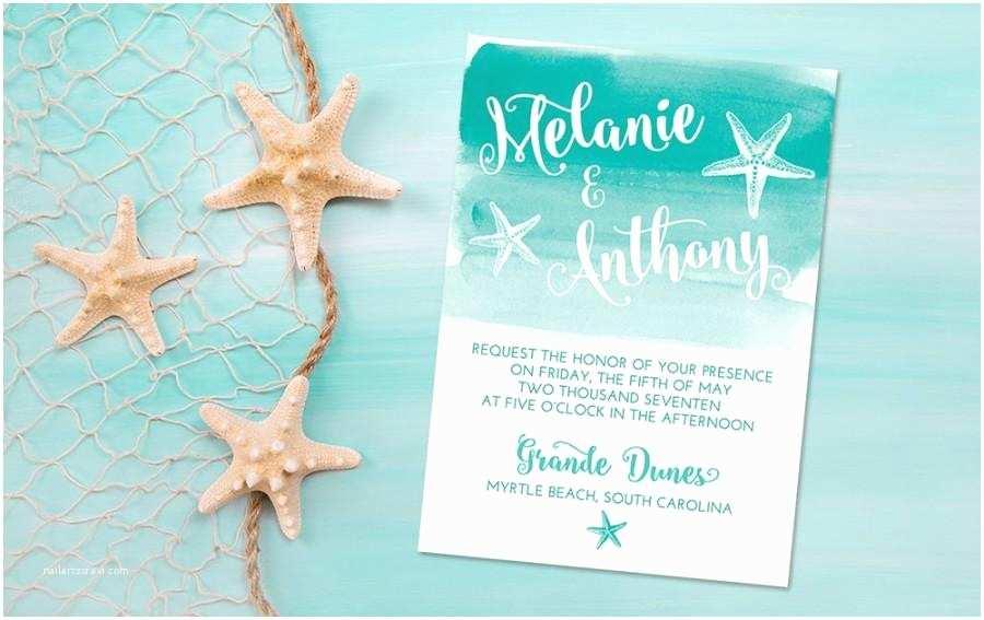 Sea themed Wedding Invitations Beach Wedding Invitation Card Starfish Invitation