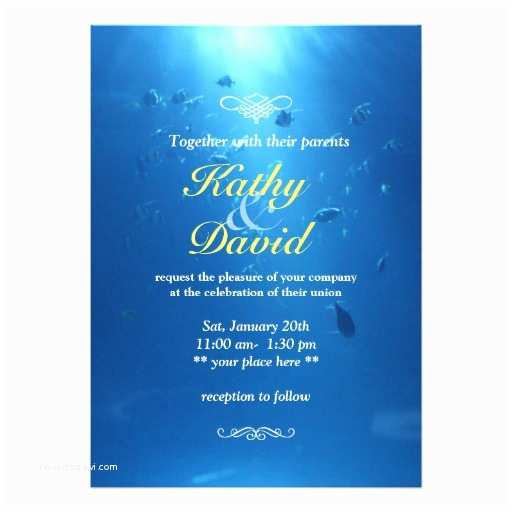 "Sea themed Wedding Invitations Beautiful Underwater Sea themed Wedding Invitation 5"" X 7"