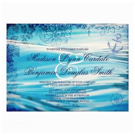 Sea themed Wedding Invitations Nautical Beach theme Ocean Blue Wedding Invitation