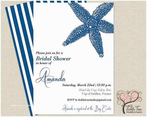 Sea themed Wedding Invitations Personalized Bridal Shower Wedding Invitation Sea