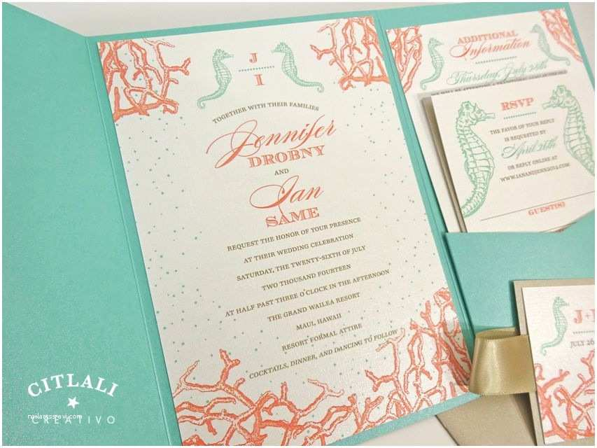 Sea themed Wedding Invitations Seahorse Coral Reef Monogram Wedding Invitations island