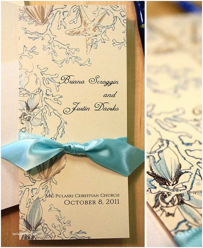 Sea themed Wedding Invitations soft Brown and Aqua Ocean Inspired Hand Painted Wedding