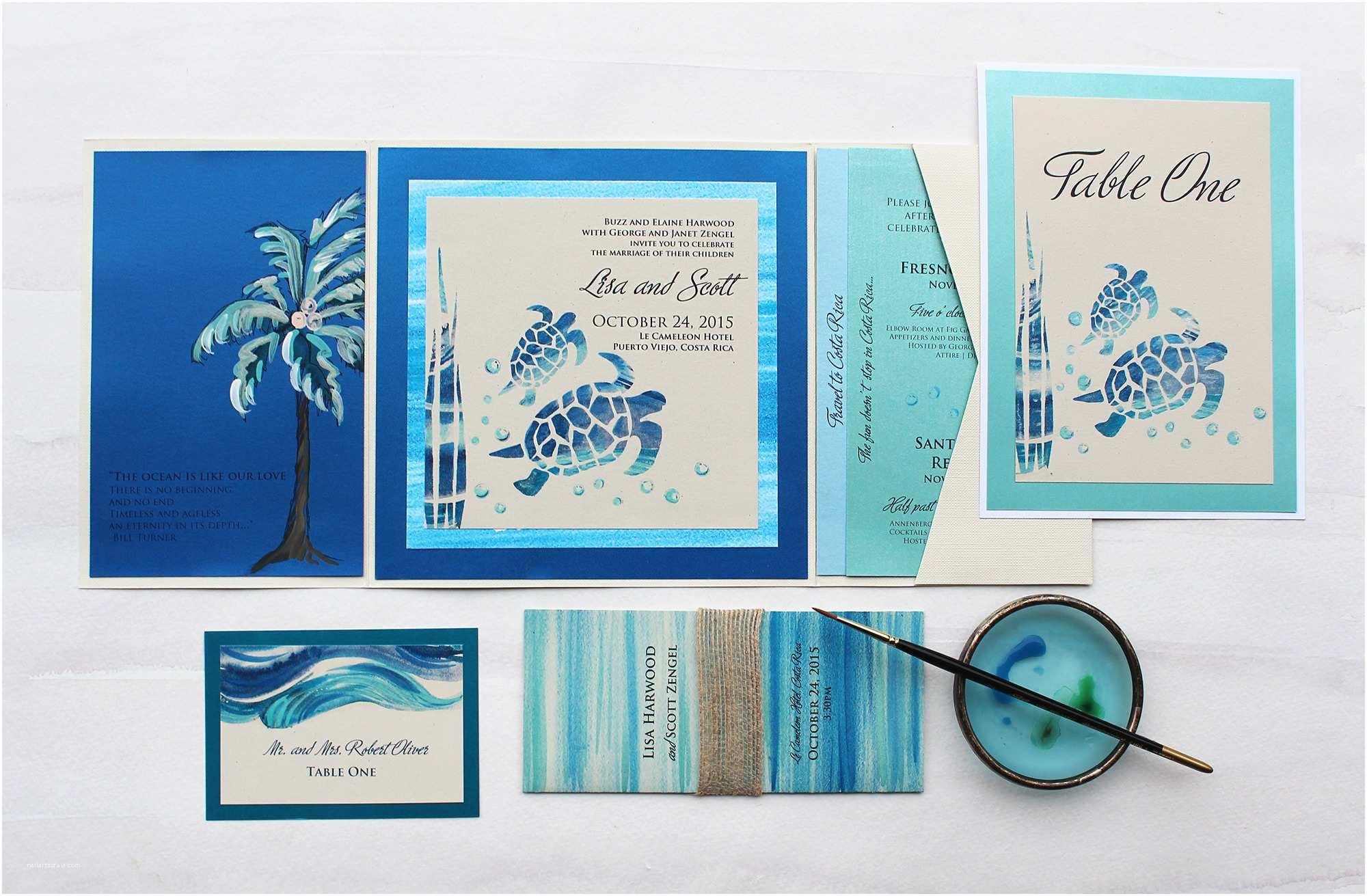 Sea themed Wedding Invitations Tropical Watercolor Wedding Invitations Momental