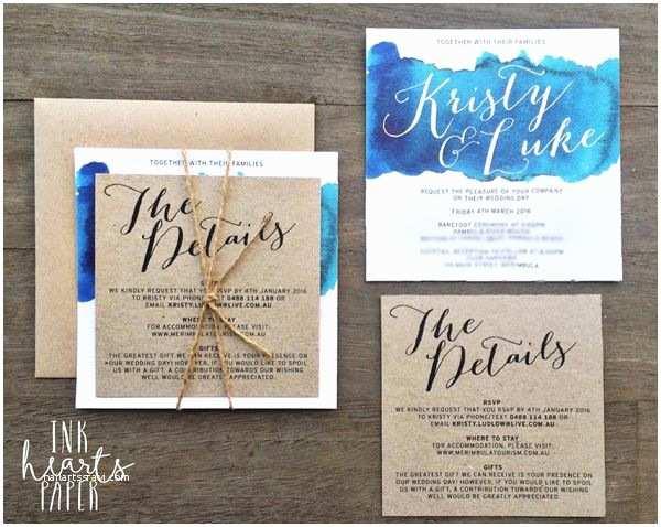 Sea themed Wedding Invitations Wedding Invitations Ink Hearts Paper Blue Aqua Ocean
