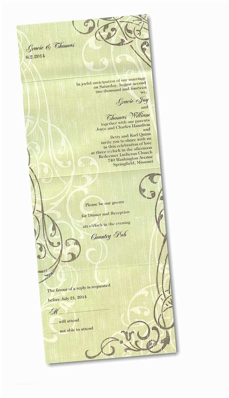 Seal and Send Wedding Invitations Contemporary Scrolls Seal N Send Wedding Invitation
