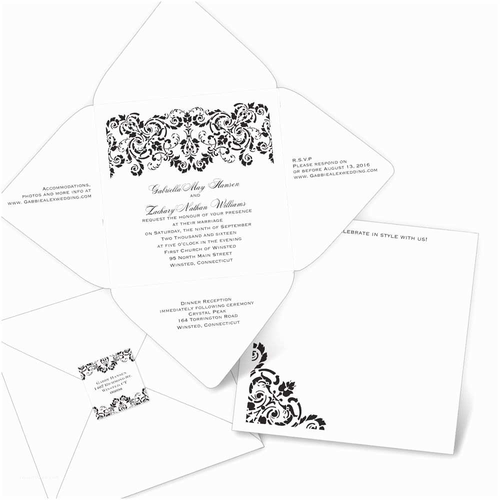 Seal and Send Wedding Invitations Damask Band Seal and Send Invitation